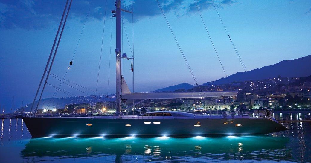 sailing yacht SHOGUN lights up on the water