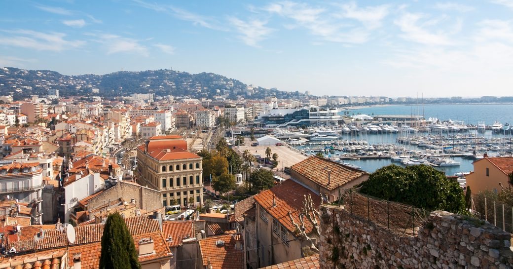 aerial view of Cannes taking in Le Suquet and the harbour
