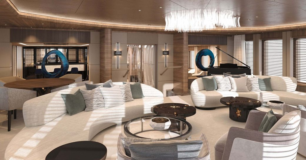 Main salon onboard MY Victorious