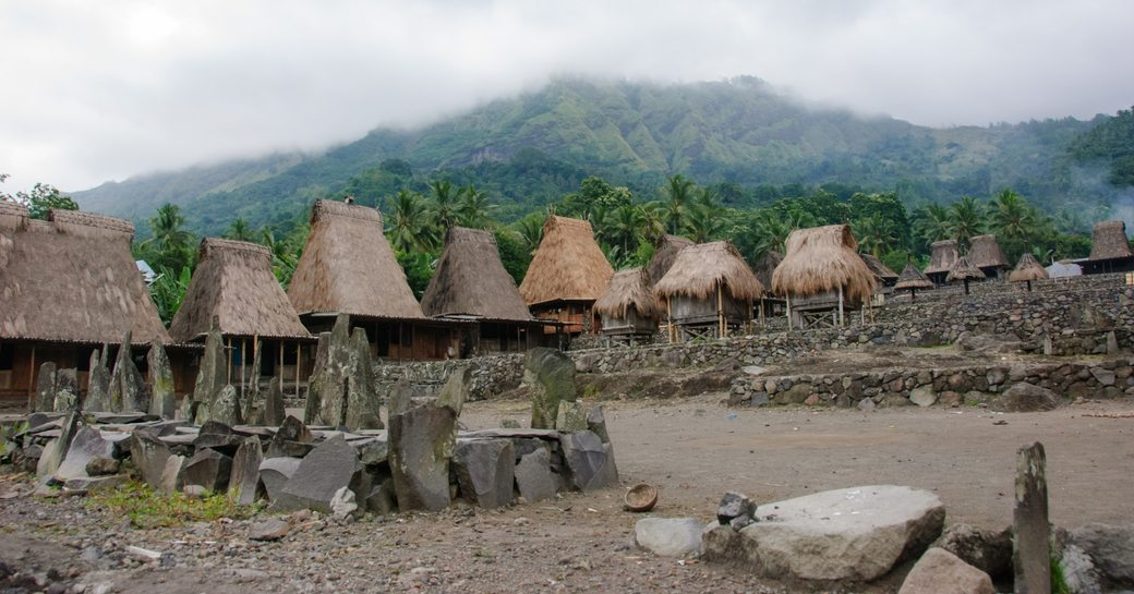 A village of the Ngada village with thatched roof houses