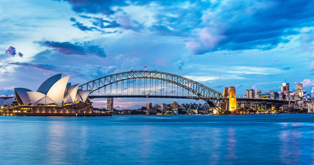 view of Sydney Harbour Bridge and Sydney Opera House from the water