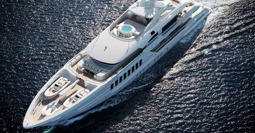 View from above of bow of superyacht MOSKITO