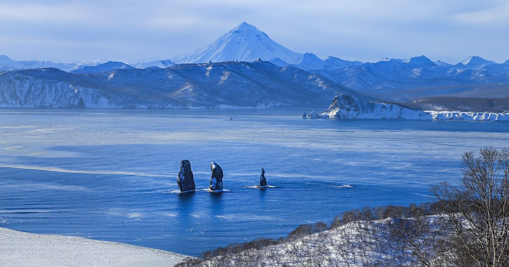 View of Kamchatka sea and volcanic  mountains