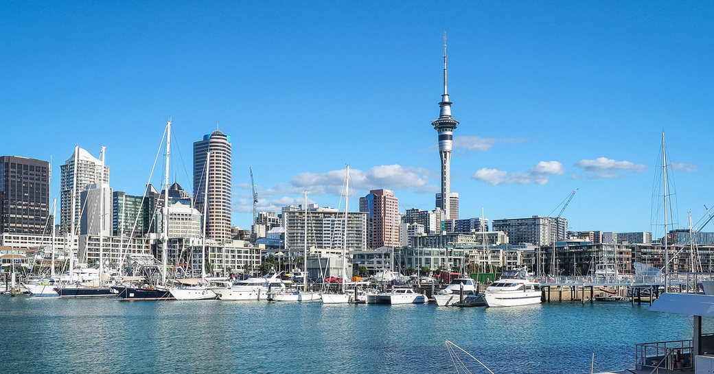 view of Auckland cityscape from the harbour