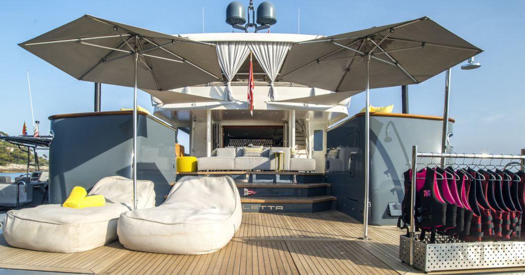 large swim platform with sunpads on board superyacht ZULU