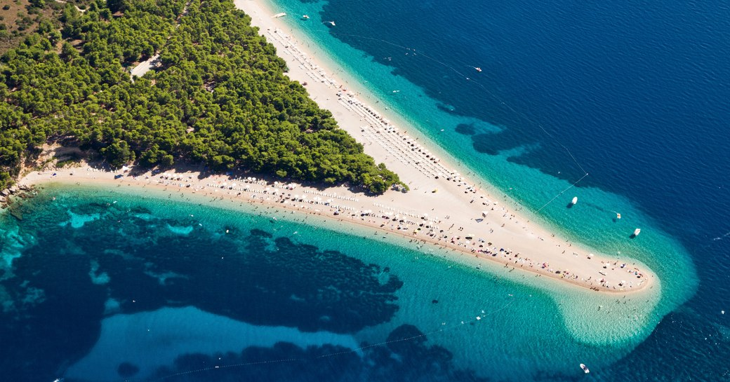 Zlatni Rat beach on the ilsand of Brac in Croatia