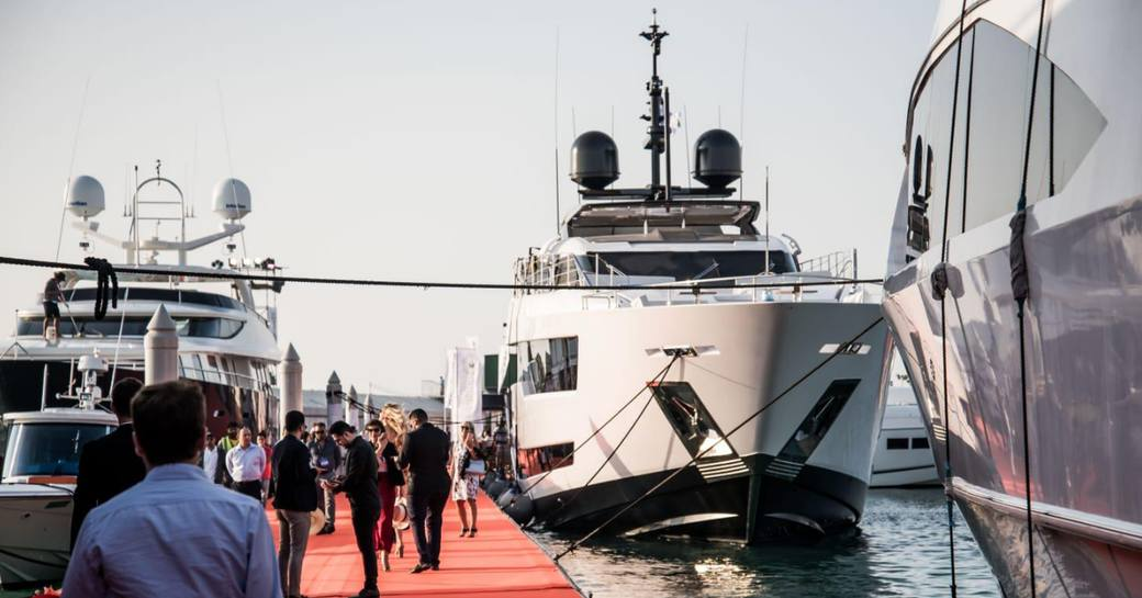 yacht lined up for the Dubai International Boat Show 2019