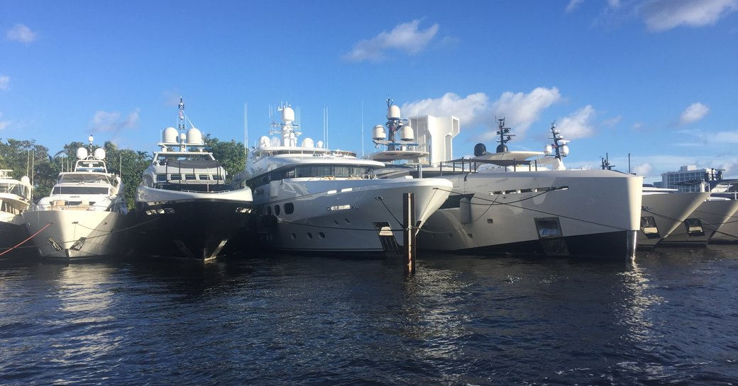 superyachts lined up for FLIBS 2017