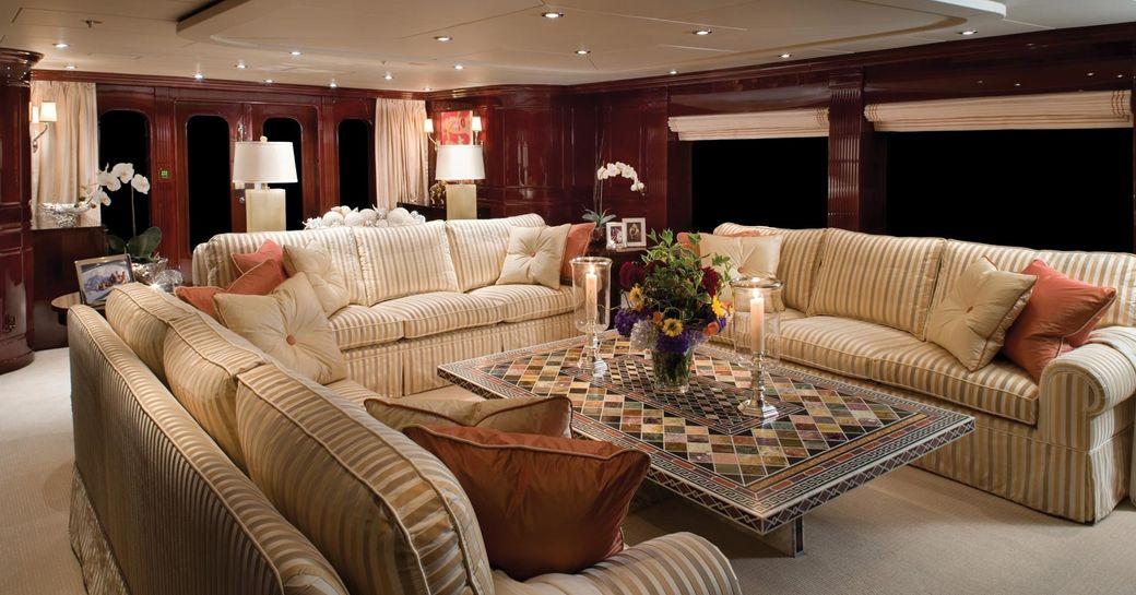 opulent and lavish main salon aboard superyacht 'Lady Joy'