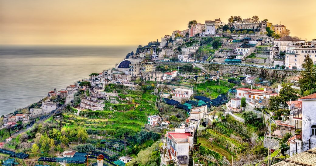 View of Ravello village, where the movie Tenet was filmed, on the Amalfi Coast in Italy