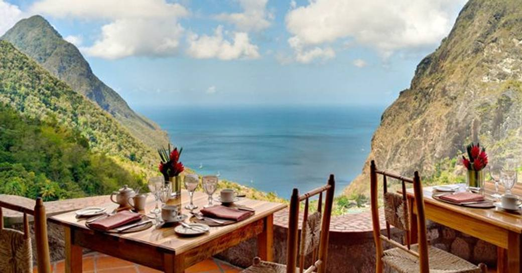 Dasheene restaurant in St Lucia with prime table spot overlooking the pitons
