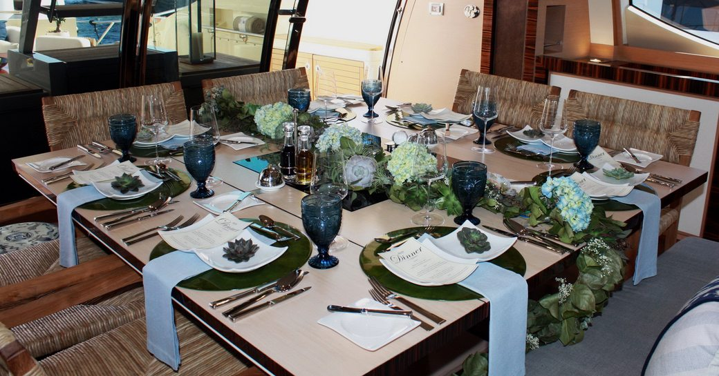 table set for the tablescaping competition aboard superyacht BW at the Newport Charter Show 2017