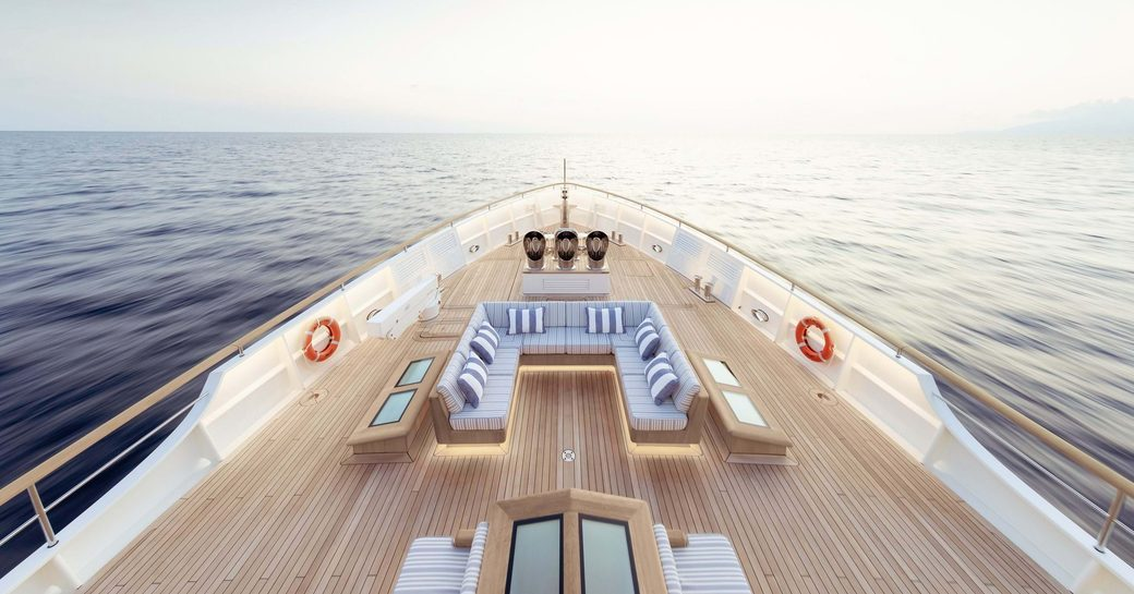 View from bow of explorer yacht 'Blue II' with large decking and sofa area