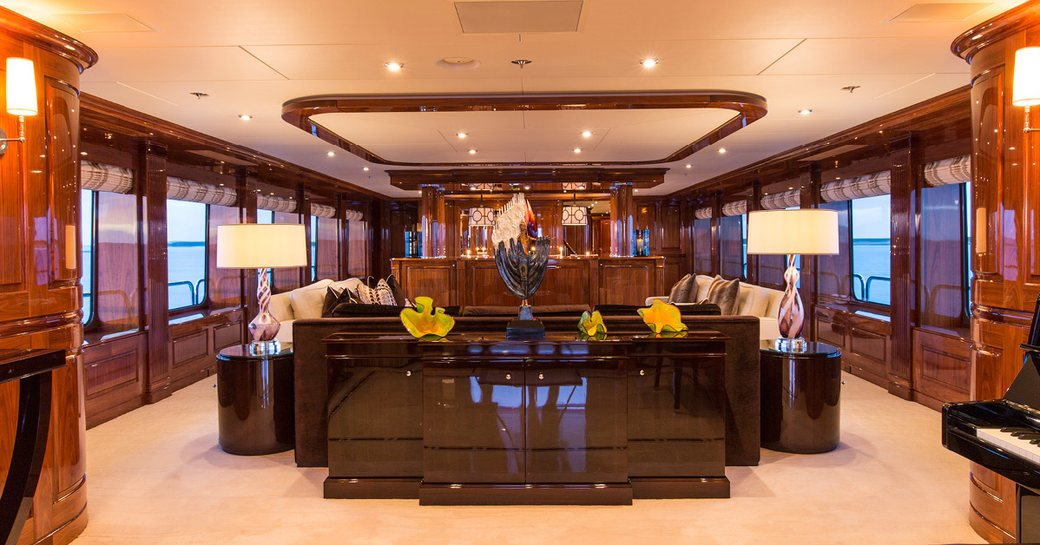 marble floors and high-gloss wall panels in the main salon of superyacht Remember When