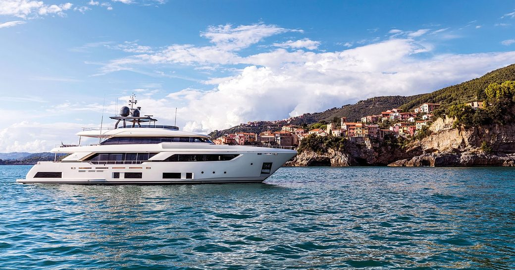 motor yacht December Six underway in Italy