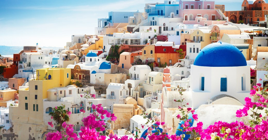 View of colorful houses in Oia, Greece