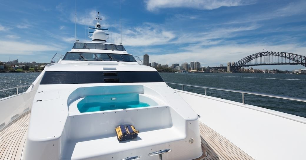 spa pool on board superyacht Tango as she cruises on charter in Sydney