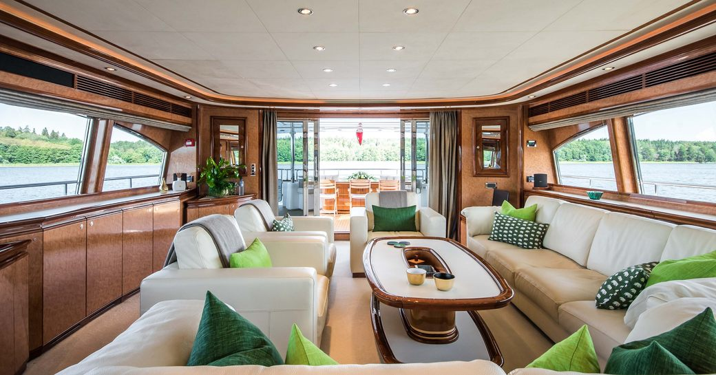 Light and airy interior of Superyacht Queen of Sheba with open patio doors