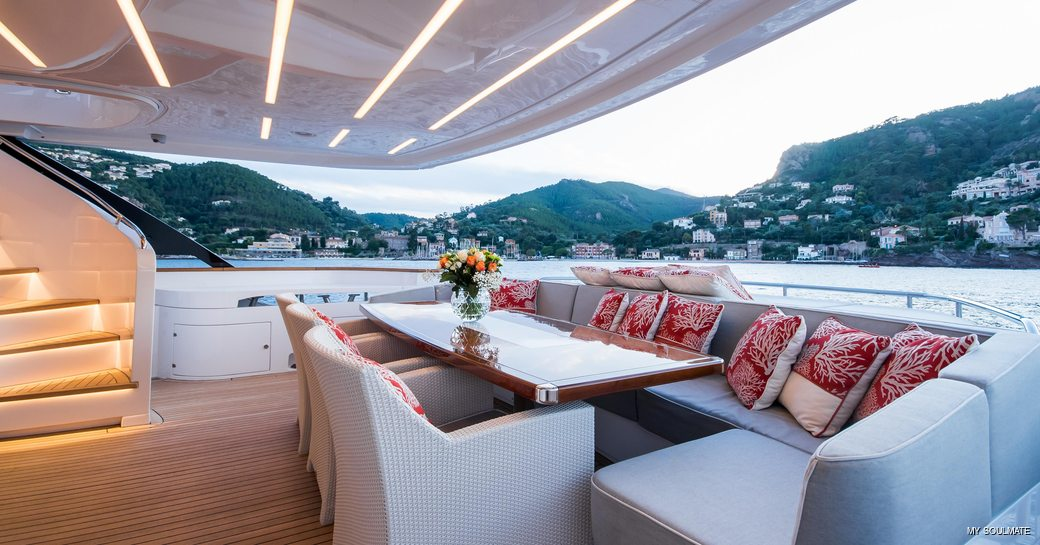 Aft deck dining onboard MY Soulmate