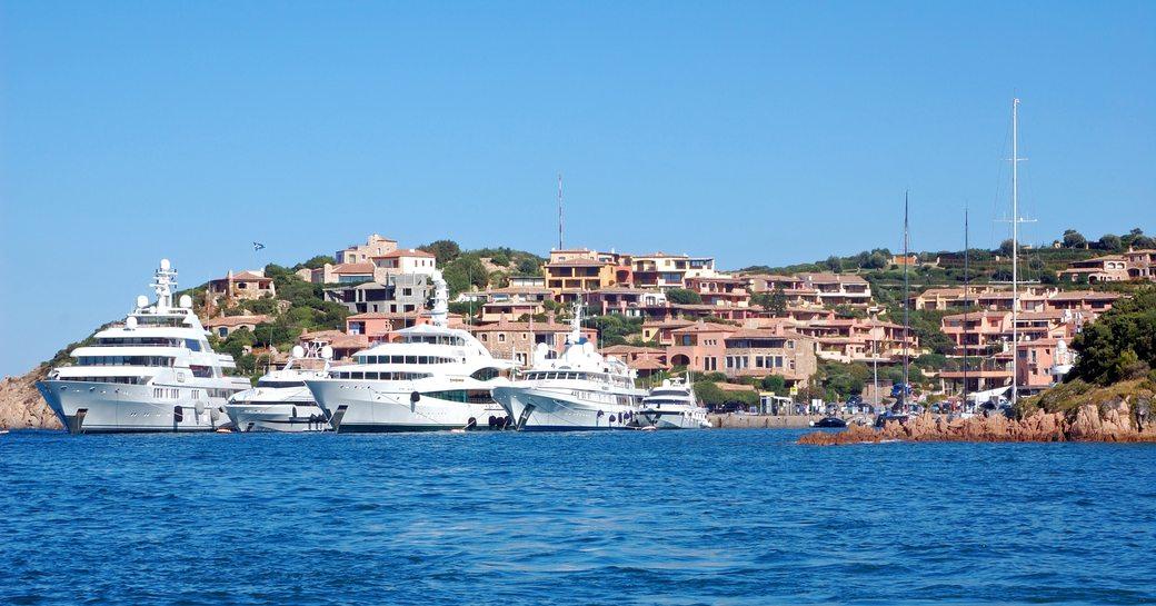 superyachts dock shoreside in Porto Cervo, Costa Smeralda, Sardinia
