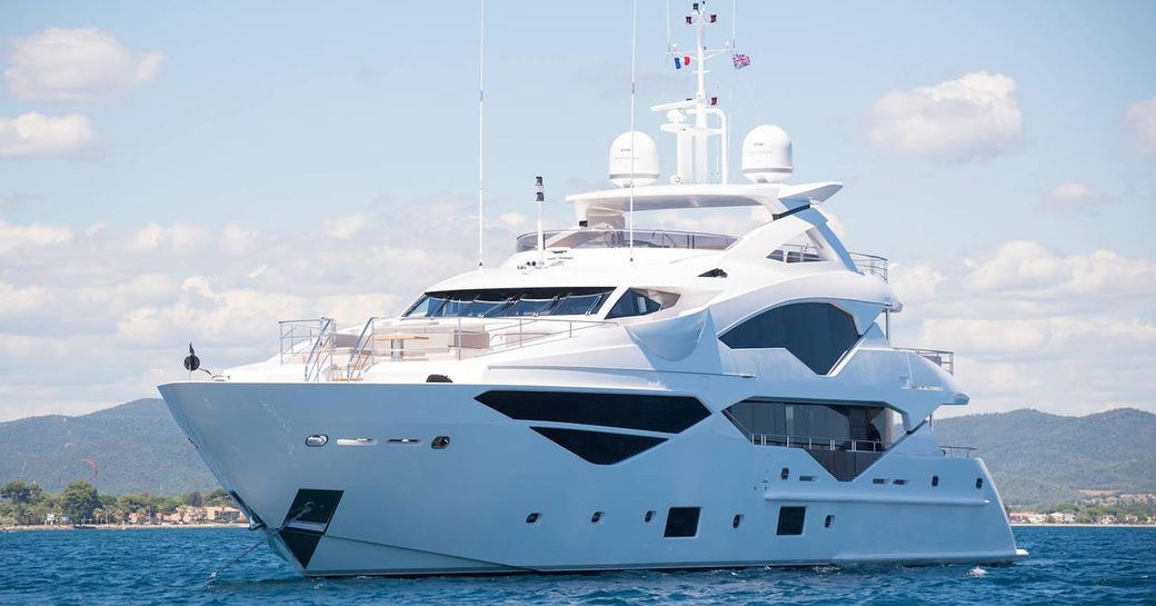 superyacht Lady M anchors on a Mediterranean yacht charter