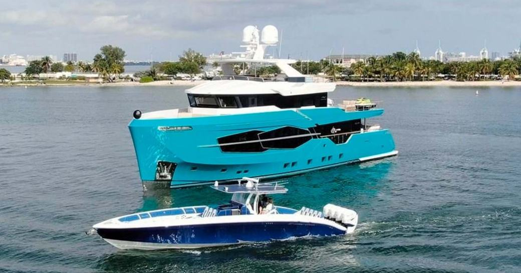 Explorer yacht 'Seven Diamonds' with tender at its side