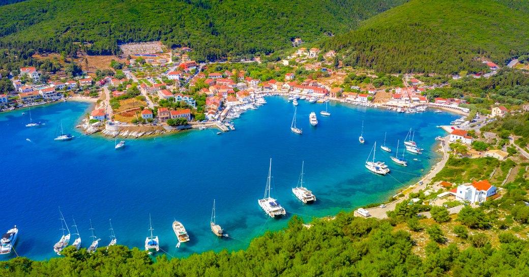 Harbor in Fiskardo greece
