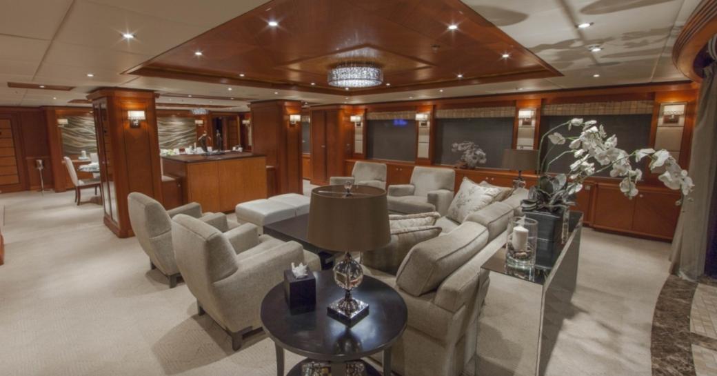 The main salon of luxury yacht SKYFALL