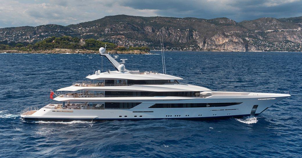 superyacht JOY underway during a luxury yacht charter in the Mediterranean