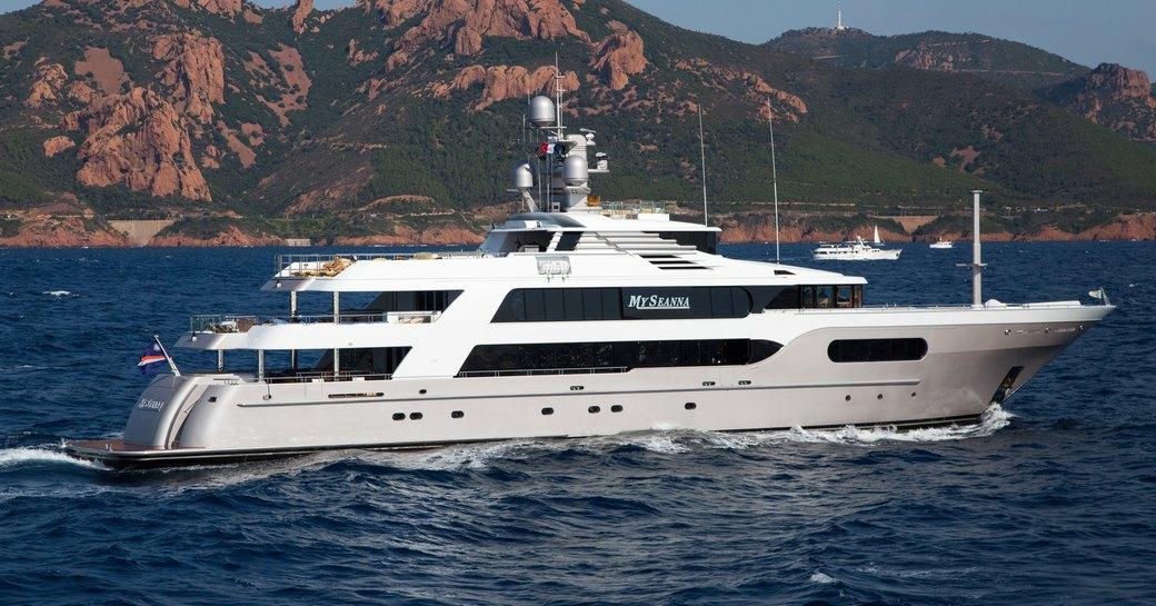 superyacht My Seanna cruises on a luxury yacht charter in the Caribbean