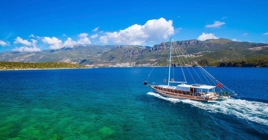 a traditional Turkish gulet yacht cruises along the Turquoise Coast