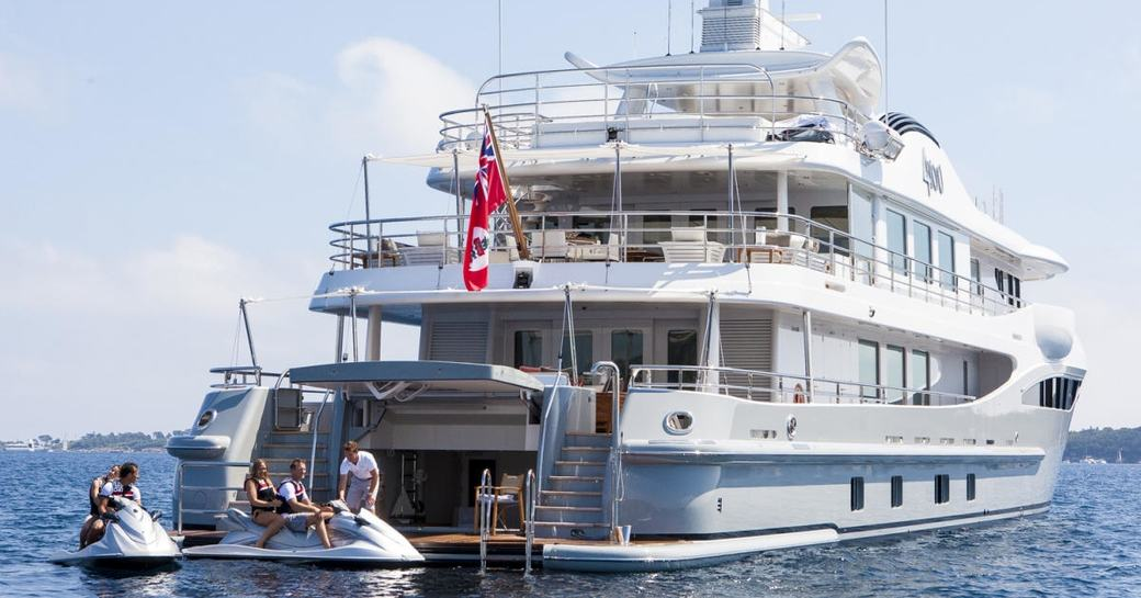 charter guests board jet skis aboard luxury yacht 4YOU