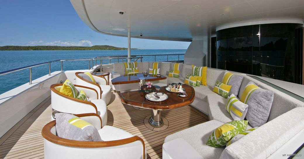 Casual dining area onboard MY Amaryllis