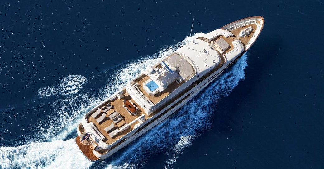 Aerial shot of Below Deck yacht VALOR underway