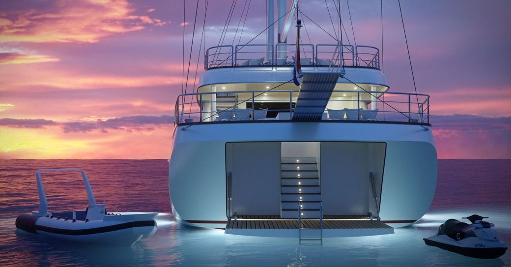 Aft view of sailing yacht Love Story