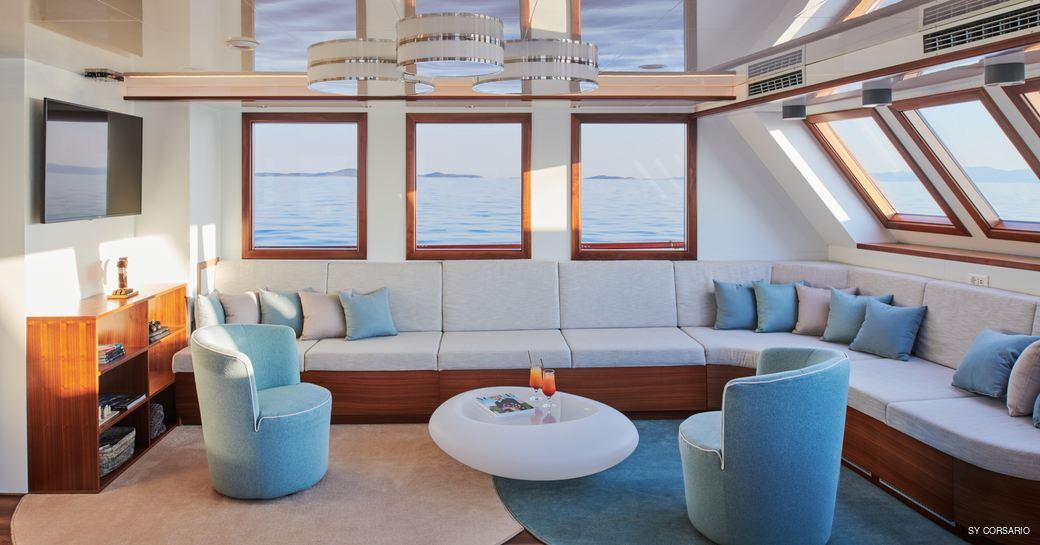 Main salon onboard sailing yacht Corsario