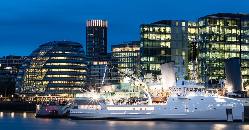 support vessel Game Changer cruise along the River Thames in London