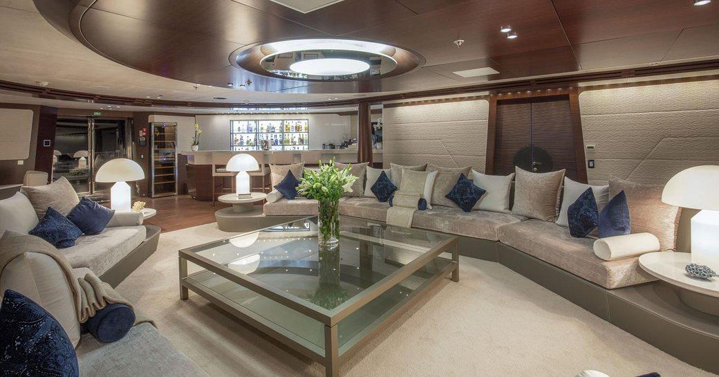 sociable main salon with large seating area on board superyacht KATINA