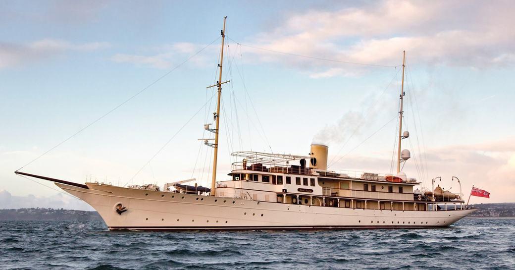 classic yacht Haida 1929 underway on a luxury yacht charter