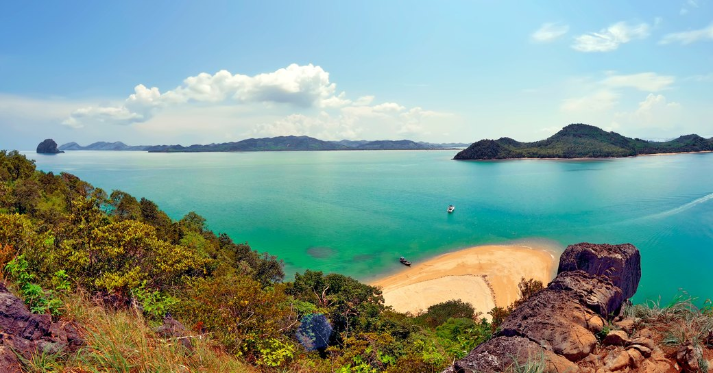 Bay in Thailand, with white sand and bright turquoise sea