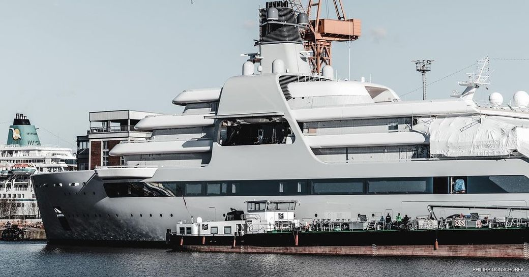 140m Solaris with crane in a shipyard in Germany