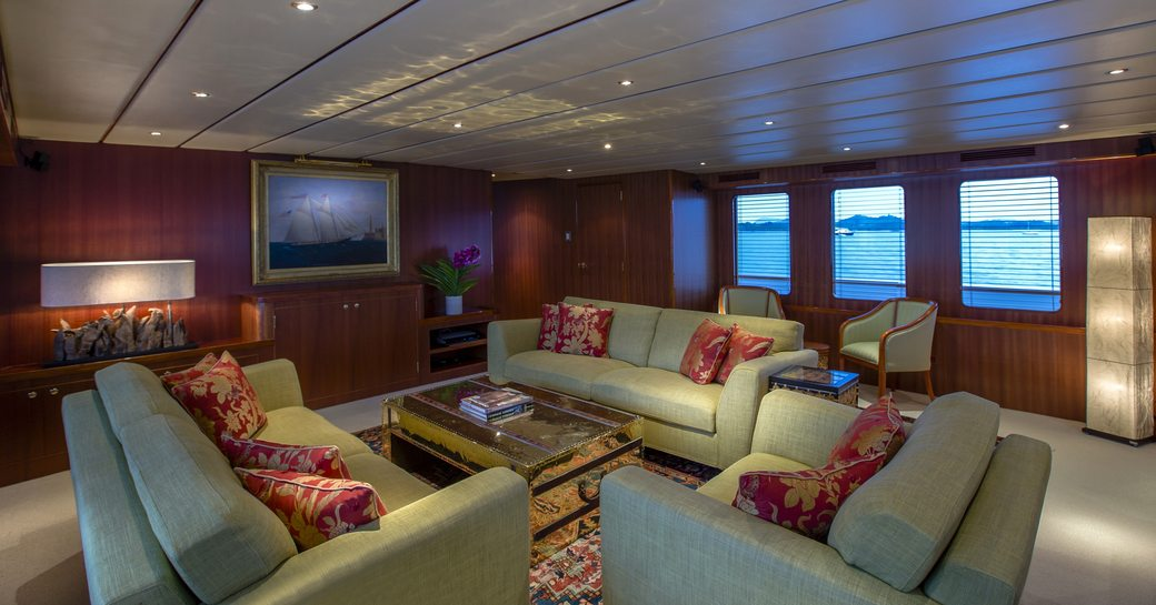 main salon with sociable lounging area on board expedition yacht 'Northern Sun'