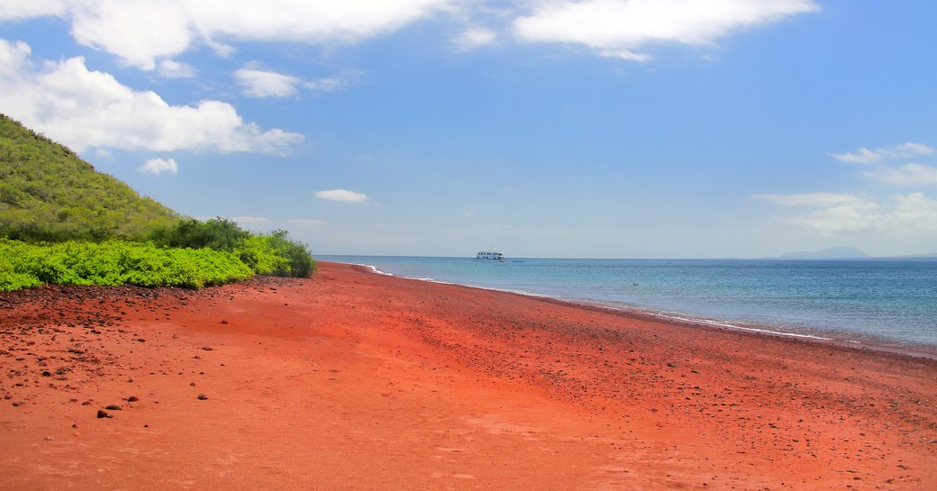 Red sands on Rabida Beach in the Galapagos