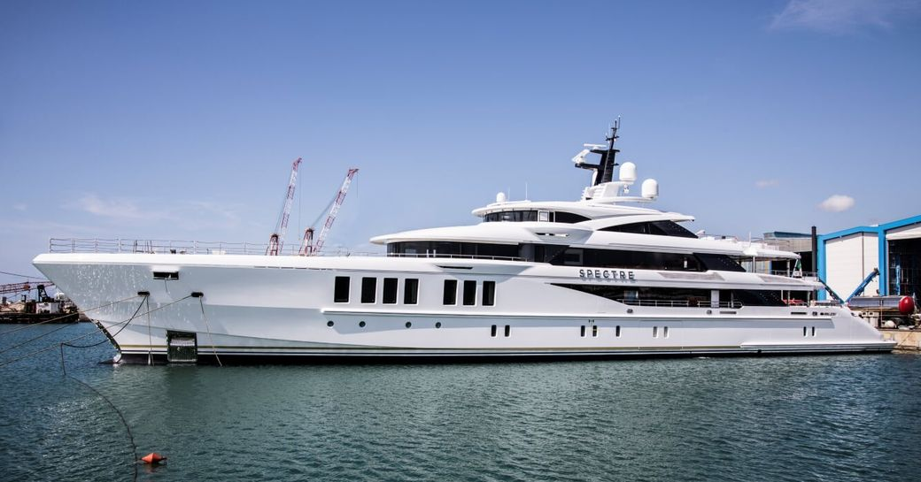 superyacht Spectre after being launched from Benetti shipyard