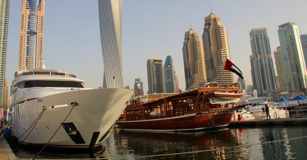 Luxury Yachts on display during Dubai International Boat Show at Dubai Marina Yacht Club
