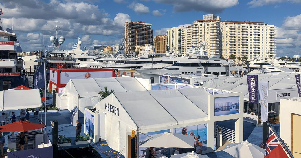 Stands at FLIBS 2018 and view of Florida skyline