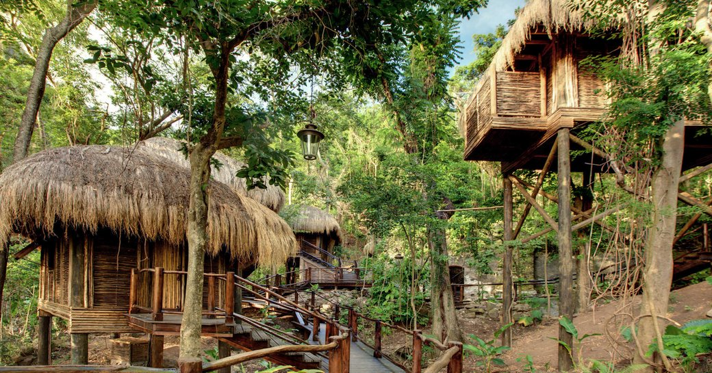 The tree house huts used for spa treatments at the Rainforest Spa in St Lucia