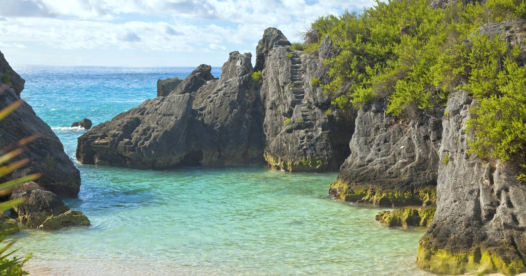 the secluded Jobson Cove Beach in south Bermuda