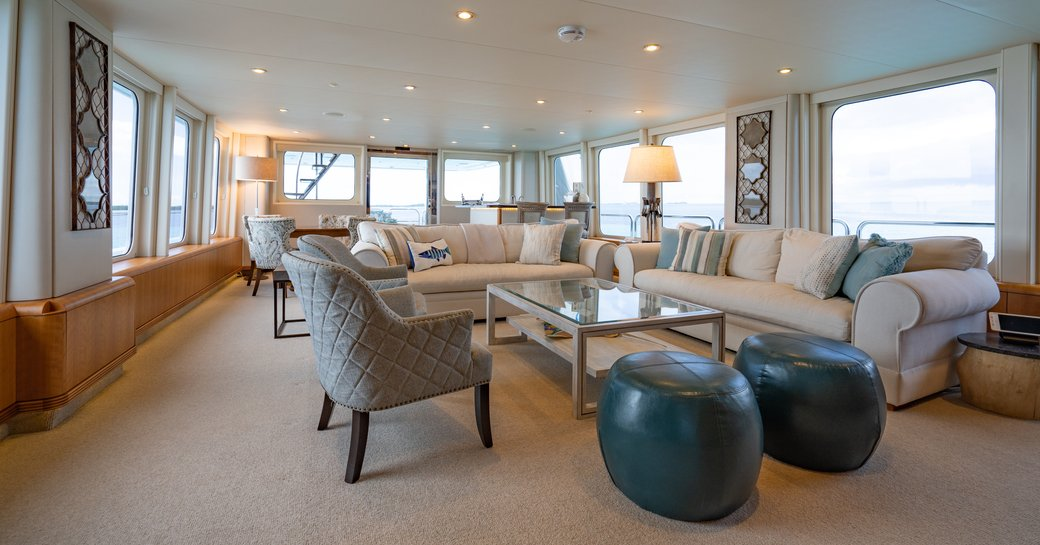 Large airy salon on superyacht ZEAL