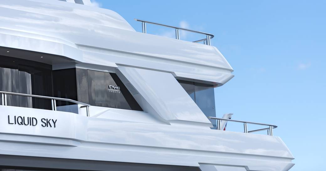 close up of curved side balconies and exterior lines on board motor yacht Liquid Sky